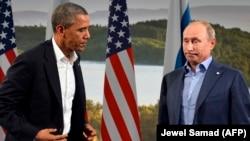 Барак Обама и Владимир Путин на встрече в Лох-Эрне, 2012
