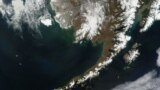 Satellite picture of the Aleutian Islands and the Alaska Peninsula