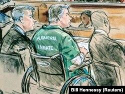 Пол Манафорт (человек в зеленой робе, сидящий в инвалидной коляске) на заседании суда в Александрии, штат Вирджиния, 7 марта 2019 года