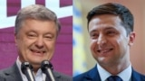 UKRAINE -- A combo photo shows presidential candidates Petro Poroshenko (left) and Volodymyr Zelenskyy