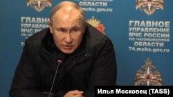 Владимир Путин в штабе МЧС по Челябинской области 31 декабря 2018