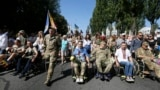 UKRAINE -- Disabled Ukrainian war veterans march down Kyiv's main street during celebration of the Ukrainian Independence Day, Kyiv, August 24, 2019