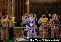 Служба в храме Христа Спасителя с участием патриарха Кирилла 29 марта 2020 года. Фото: пресс-служба патриарха