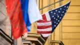 RUSSIA -- A Russian flag flies next to the U.S. embassy building in Moscow. October 22, 2018