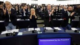 FRANCE -- Member of the European Parliament applaud after the President of the European Parliament Antonio Tajani announced the winner of the Sakharov Prize in Strasbourg, October 25, 2018
