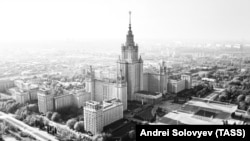 Вид на здание МГУ имени М.В.Ломоносова на Ленинских горах. Фотохроника ТАСС