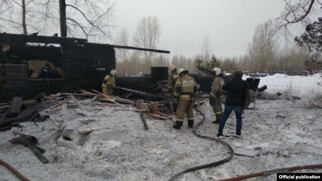 Пожар на лесопилке, фото МЧС Томской области
