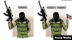 Pro-Kremlin Twitter satirist Lev Sharansky published this cartoon lampooning the idea of a moderate Syrian opposition.