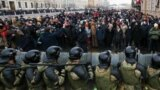 RUSSIA – Riot police officers guard the area outside the St Petersburg Legislative Assembly building during an unauthorized rally in support of Russian opposition activist Alexei Navalny. St Petersburg, January 31, 2021