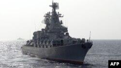 """Российский ракетный крейсер """"Москва"""" у берегов Сирии"""