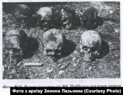 Иллюстрация из статьи Зенона Позняка о расстрелах в Куропатах. Текст на фото: Раскоп (захоронение) №8. Наиболее сохранившиеся черепа (женские) из захоронения №8