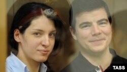 Никита Тихонов и Евгения Хасис в суде в 2011 году