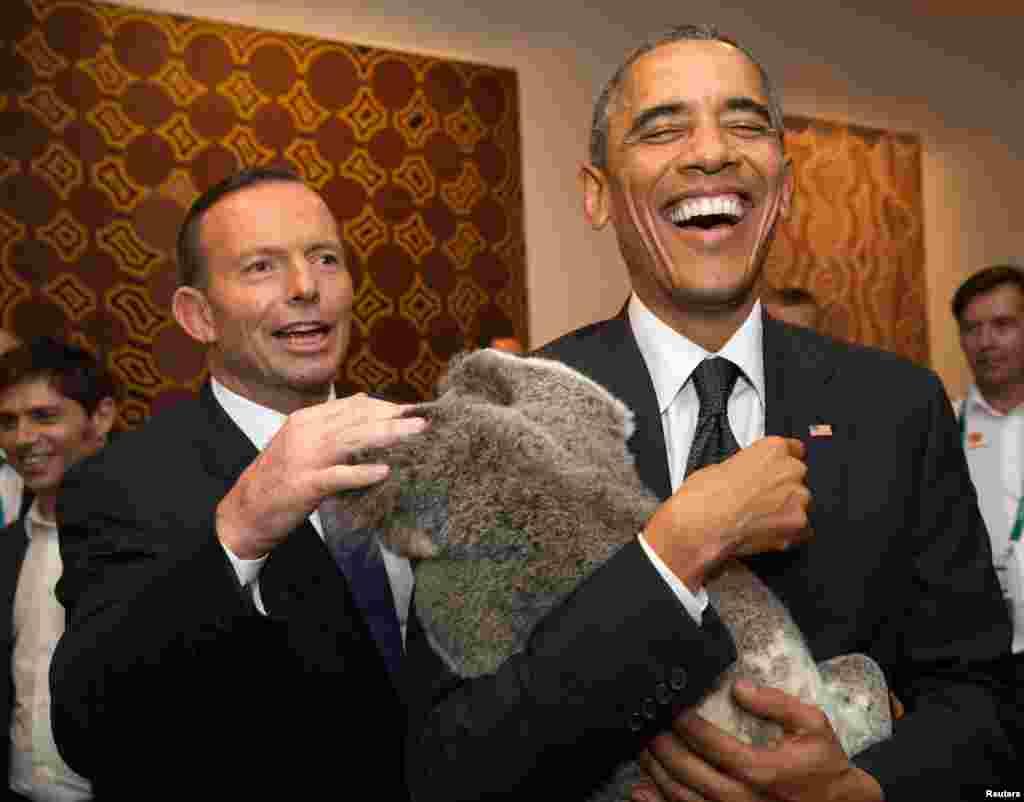 Премьер-министр Австралии Тони Эбботт и президент США Барак Обама.