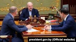 Встреча Лукашенко с главой КГБ Беларуси Валерием Вакульчиком и главой Следственного комитета Беларуси Иваном Носкевичем