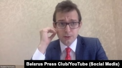 Maryya Kalesnikava's defense attorney, Uladzimir Pylchanka, appears on a September 6, 2021 YouTube press conference following her sentencing.