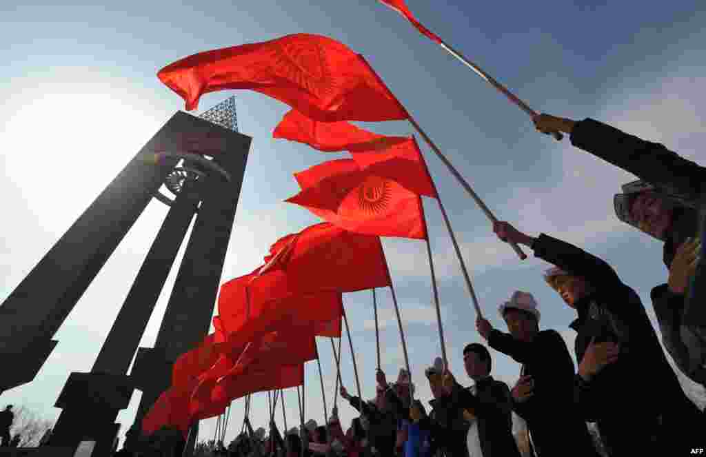 День национального флага в Бишкеке, Киргизия - 3 марта 2015 года