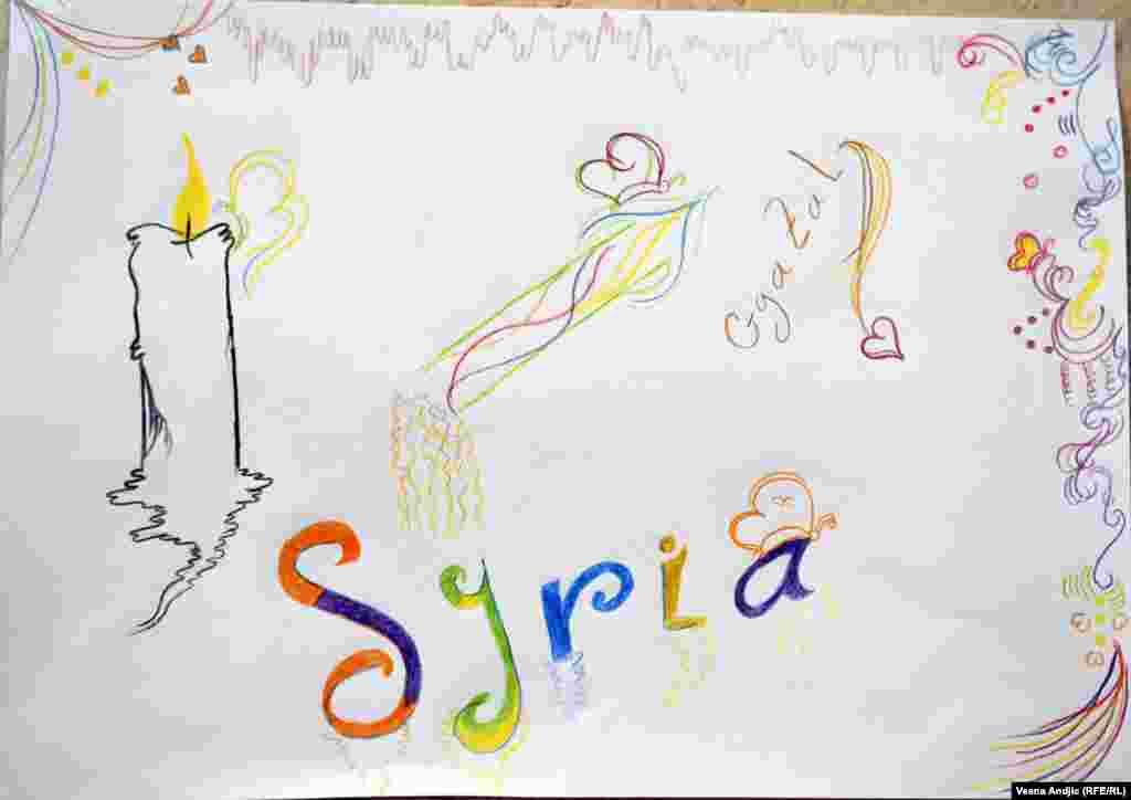 """""""Мне кажется, что они еще не до конца осознают, что с ними произошло. Особенно, если родители не говорят с ними о происходящем"""", - говорит психолог Андрэа Благоевич Рисунок 6-летнего Газала из Сирии"""