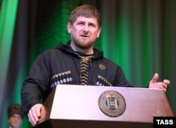 Chechen leader Ramzan Kadyrov delivers a speech in Grozny, Chechnya on March 10, 2015.