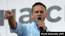 Алексей Навальный на митинге 20 июля 2019 года в Москве. Фото: AP