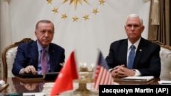 Президент Турции Реджеп Эрдоган и вице-президент США Майк Пенс