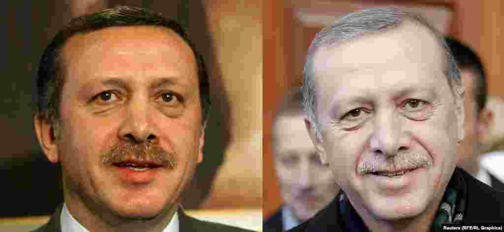 Лидер Турции Реджеп Тайип Эрдоган в 2003 (слева) и в 2015 году