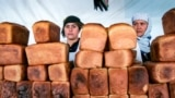 Dushanbe, Tajikistan - Sellers of bread at Market in Dushanbe