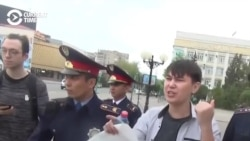 Meta Protest: Kazakh Man Detained Holding Blank Poster