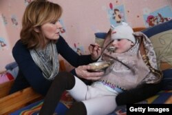 Adi Roche at a children's home in Belarus. (file photo)