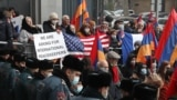ARMENIA -- People attend a rally outside the U.S. embassy in Yerevan, December 14, 2020
