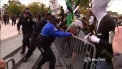 Столкновения демонстрантов с полицией в Лондоне и Вашингтоне