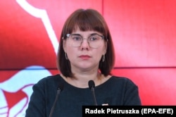 Belarusian opposition activist Olga Kovalkova speaks at a press conference in Warsaw on September 5, 2020.
