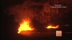 Тысячи людей съезжаются посмотреть на озеро лавы на Гавайях