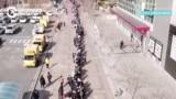 Километровая очередь за медицинскими масками в Корее, кадры с дрона
