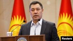 Kyrgyz Prime Minister and Acting President Sadyr Japarov addresses parliament on October 16, 2020.