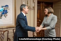 U.S. Secretary of State Anthony Blinkin met with Belarusian opposition leader Svyatalana Tsikhanouskaya at the State Department on July 19, 2021.