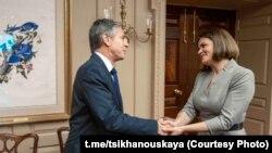 Госсекретарь США Энтони Блинкен и лидер белорусской оппозиции Светлана Тихановская