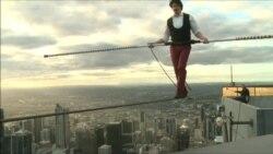 Австралийский канатоходец прошел по натянутому на 300-метровой высоте тросу