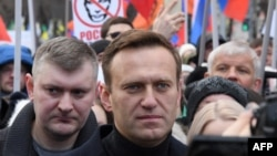 Russian opposition figure Aleksei Navalny participates in a February 29, 2020 march in Moscow in honor of slain opposition politician Boris Nemtsov.