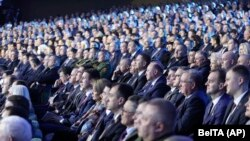 Delegates attend the All-Belarus People's Assembly in Minsk on February 11, 2021.