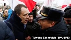 Павел Северинец на акции протеста против интеграции Беларуси и России, 8 декабря 2019 года, Минск, Беларусь