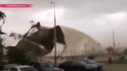 Ураган в Москве, как это было: падают краны, слетает железо с крыш