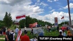 Пикет у литовского пункта Мядининкай, 5 июня 2021 года