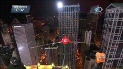В Чикаго канатоходец и акробат Ник Валленда установил два мировых рекорда