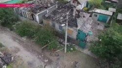 Обстрел Октябрьского района Донецка - видео с дрона