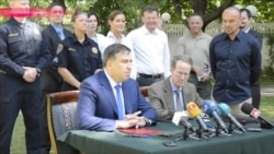 Саакашвили подписывает соглашение с Вильямом Браунфилдом