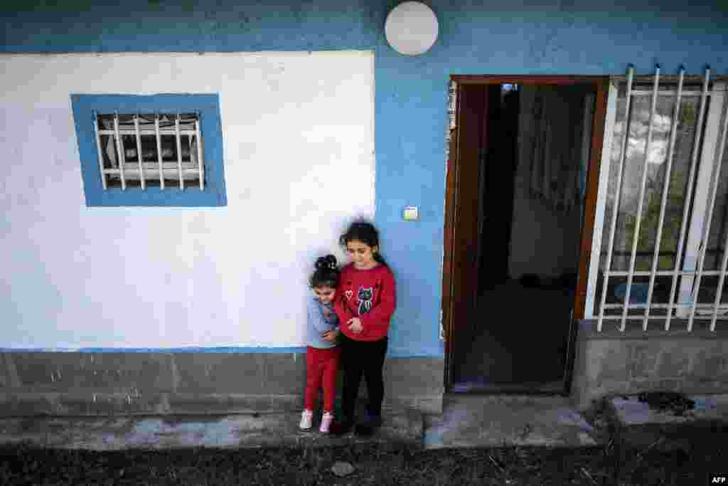 Child refugees from the Nagorno-Karabakh region seen on October 8 in the Armenian town of Dilijan, roughly 130 kilometers west of the Azerbaijani border. Some 150 Karabakh residents have been living in five Dilijan guesthouses since the start of the month.