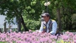 Бишкекский певец поет арии, высаживая цветы на клумбах